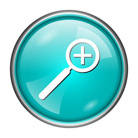 Round glossy icon with white design of enlarge on aqua background
