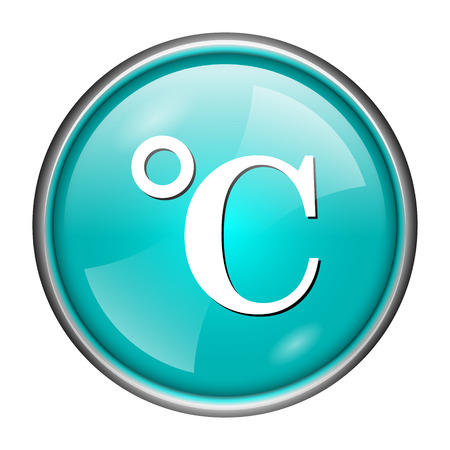 celcius: Round glossy icon with white design of degree Celsius on aqua background