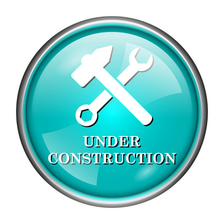 Round glossy icon with white design of under construction on aqua background photo