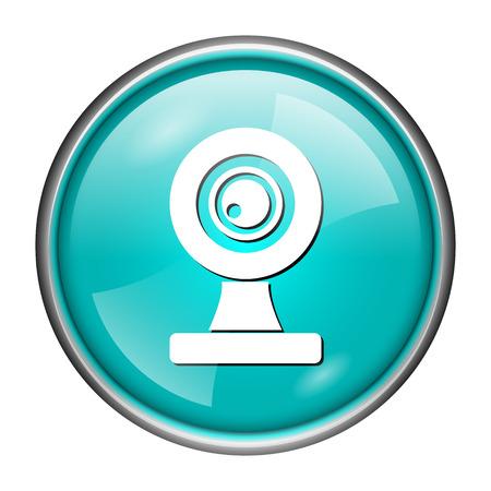 Round glossy icon with white design of web camera on aqua background photo