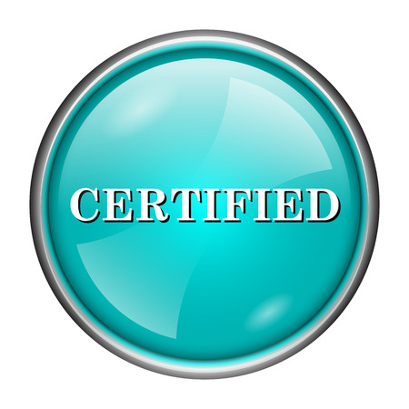 accredit: Round glossy icon with white design of certified word on aqua background Stock Photo
