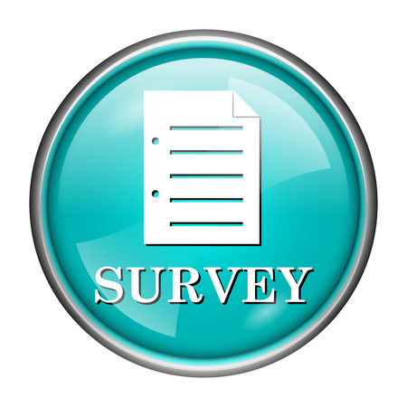 Round glossy icon with white design of survey on aqua background photo