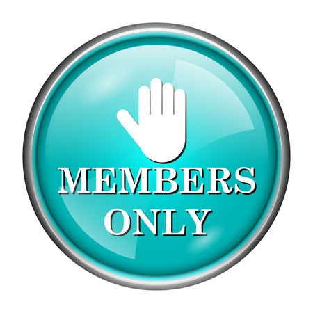 closed community: Round glossy icon with white design of members only on aqua background