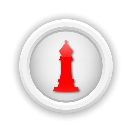 king master: Round plastic icon with red design on white background