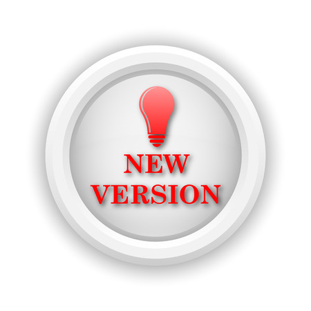 new and improved: Round plastic icon with red design on white background
