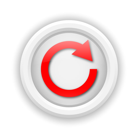 Round plastic icon with red design on white background photo