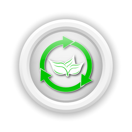 Round plastic icon with green design on white background photo