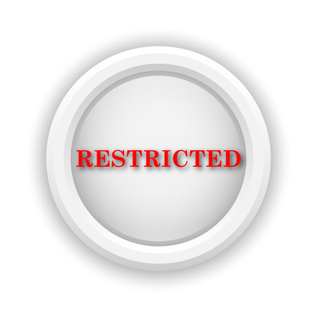 disallowed: Round plastic icon with red design on white background