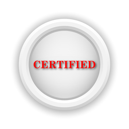 ratificaci�n: Icono redondo de pl�stico con un dise�o rojo sobre fondo blanco Foto de archivo