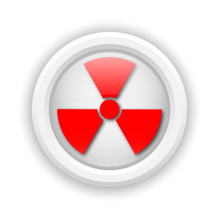 plutonium: Round plastic icon with red design on white background