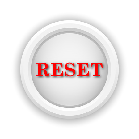revision: Round plastic icon with red design on white background