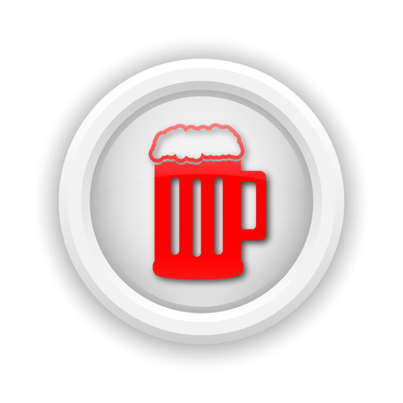 Round plastic icon with red design on white background