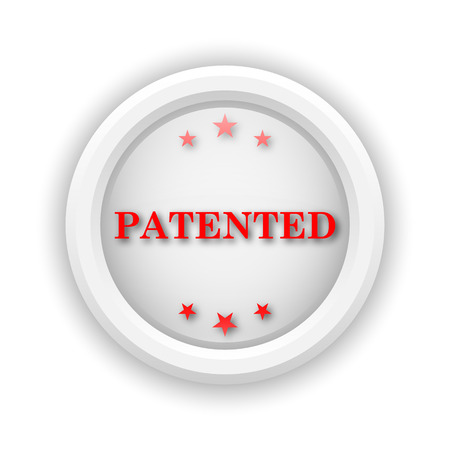 secured property: Round plastic icon with red design on white background