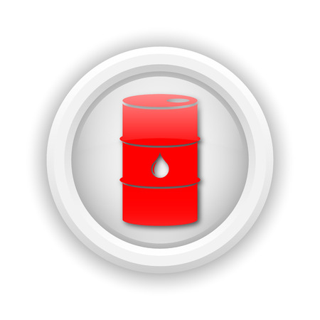 barrell: Round plastic icon with red design on white background