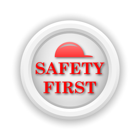 cautionary: Round plastic icon with red design on white background