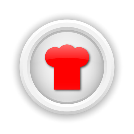 fine cuisine: Round plastic icon with red design on white background
