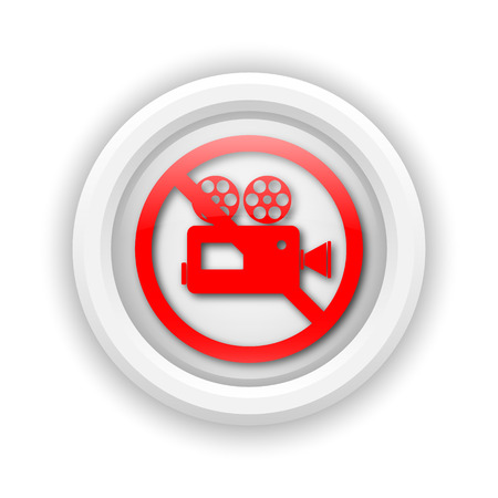 Round plastic icon with red design on white background Stock Photo - 25715370