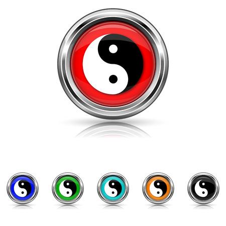 yan: Shiny glossy icons - six colours vector set Illustration