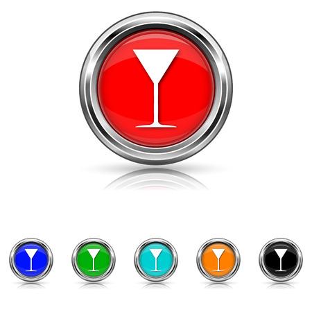champain: Shiny glossy icons - six colours vector set Illustration