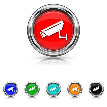 Shiny glossy icons - six colours set Иллюстрация