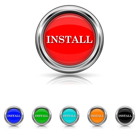 Shiny glossy icons - six colours vector set Stock Vector - 25851287