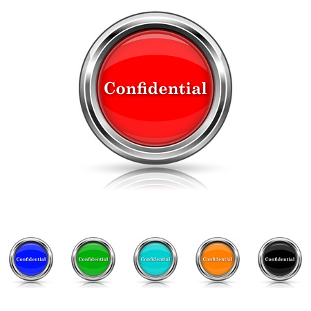 confidentiality: Shiny glossy icons - six colours set Illustration