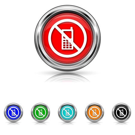 no cell: Shiny glossy icons - six colours set Illustration