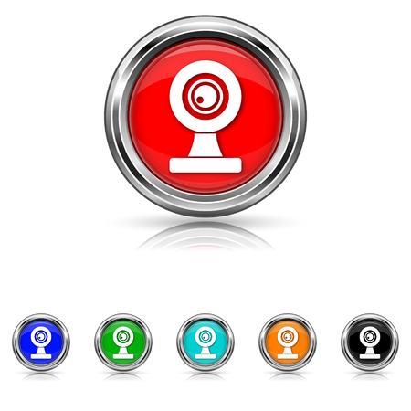 Shiny glossy icons - six colours set Vector