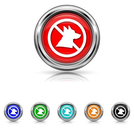 dog allowed: Shiny glossy icons - six colours set Illustration