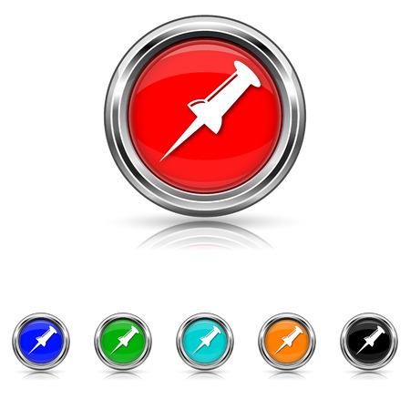 Shiny glossy icons - six colours vector set Illustration