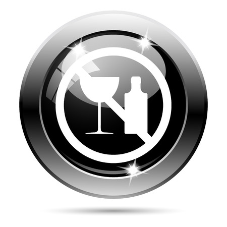 Metallic round glossy icon with white design on black background photo