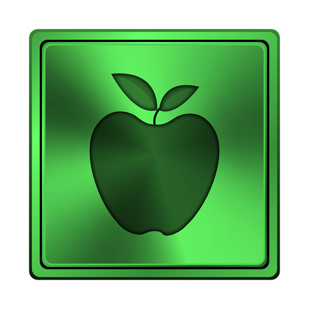 Square metallic icon with carved design on green  photo