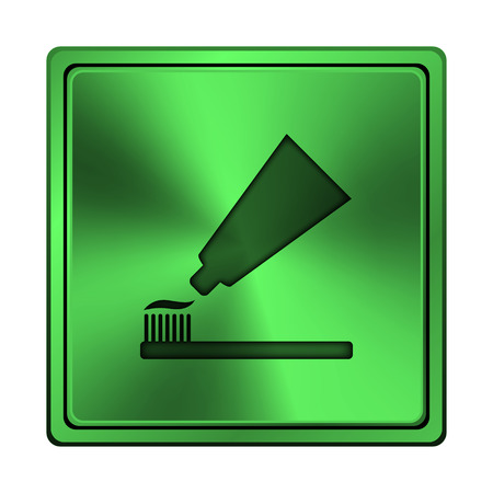fluoride: Square metallic icon with carved design on green