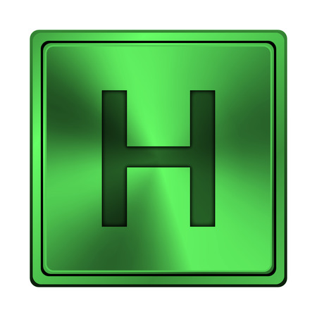 hobble: Square metallic icon with carved design on green