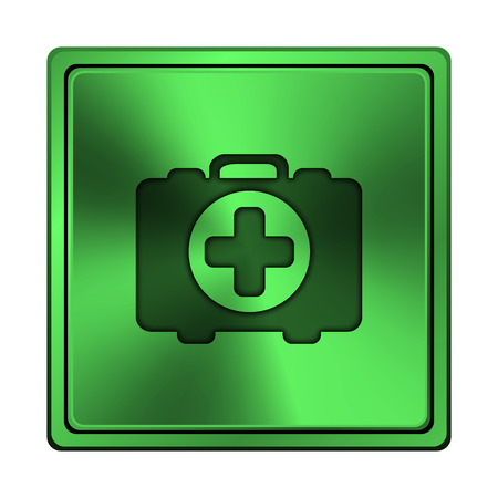 first aid kit key: Square metallic icon with carved design on green