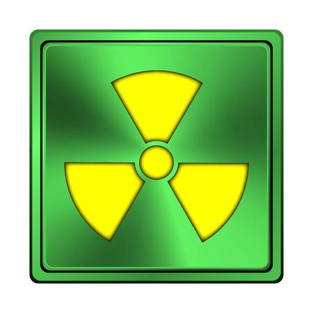 radium: Square metallic icon with carved design on green