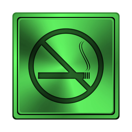 interdiction: Square metallic icon with carved design on green