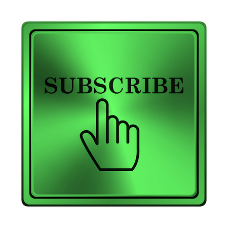 subscribing: Square metallic icon with carved design on green