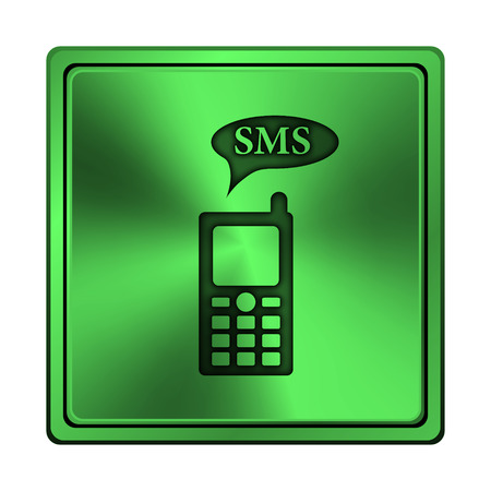 gsm: Square metallic icon with carved design on green
