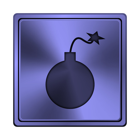 mines: Square metallic icon with carved design on blue background