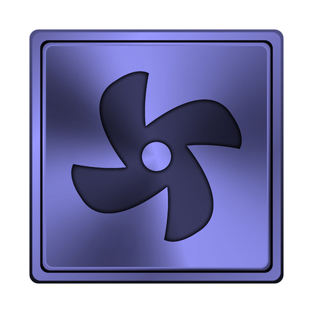 conditioned: Square metallic icon with carved design on blue background