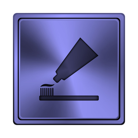 Square metallic icon with carved design on blue background