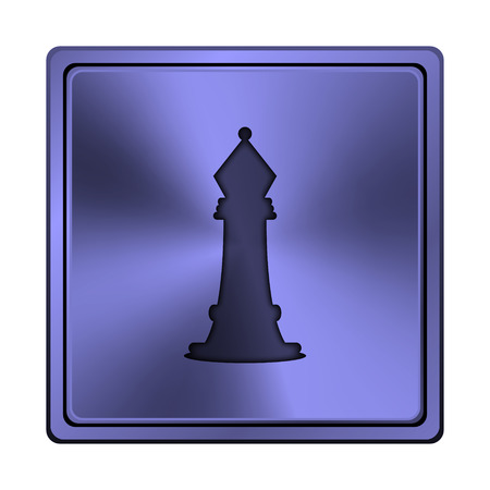 king master: Square metallic icon with carved design on blue background