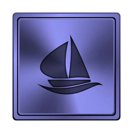 blue metallic background: Square metallic icon with carved design on blue background