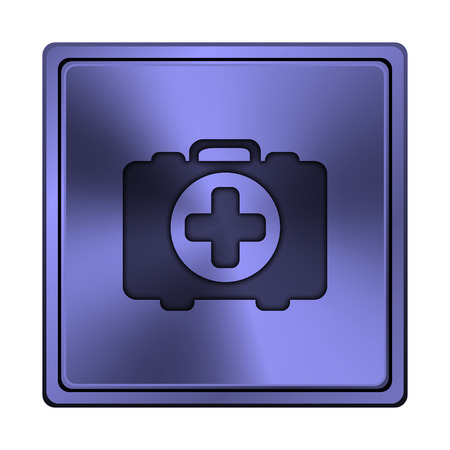 first aid kit key: Square metallic icon with carved design on blue background