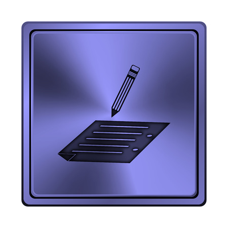 subscribing: Square metallic icon with carved design on blue background