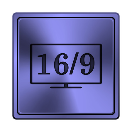 16 9 display: Square metallic icon with carved design on blue background