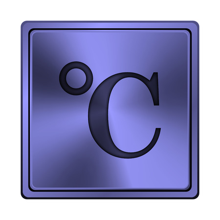celcius: Square metallic icon with carved design on blue background