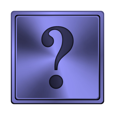 inquiry: Square metallic icon with carved design on blue background