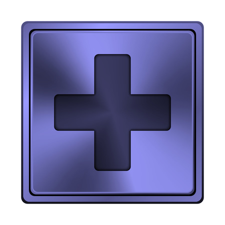 Square metallic icon with carved design on blue background photo